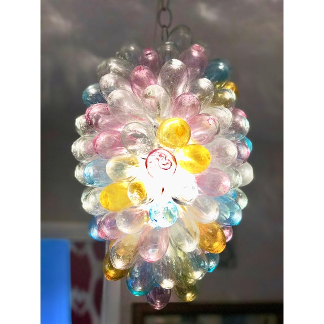 Soft Candy Colored Balloon Shape Light Fixture of Recycled Handblown Glass For Sale - Image 11 of 12