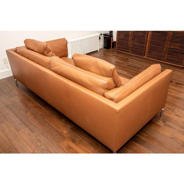 Italian Design Within Reach Como Leather Sofa For Sale - Image 3 of 5