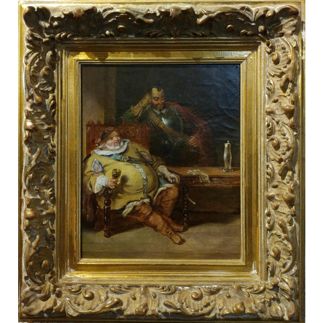 Realism 18th century Dutch Oil Painting -Interior scene of Two Nobles Drinking For Sale - Image 3 of 10
