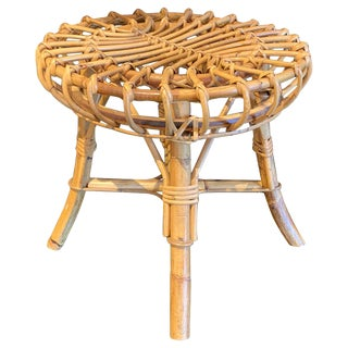 Midcentury Rattan Stool by Franco Albini For Sale
