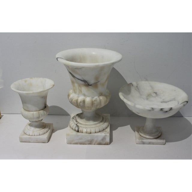 Traditional Vintage White Marble Urns and Compote - Set of 3 Pieces For Sale - Image 3 of 12