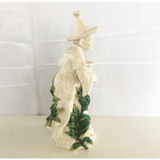 Vintage White Chinoiserie Man Candlestick Holder Figure Preview