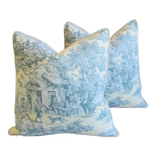 "French Farmhouse Country Toile Feather/Down Pillows 24"" Square - Pair For Sale"