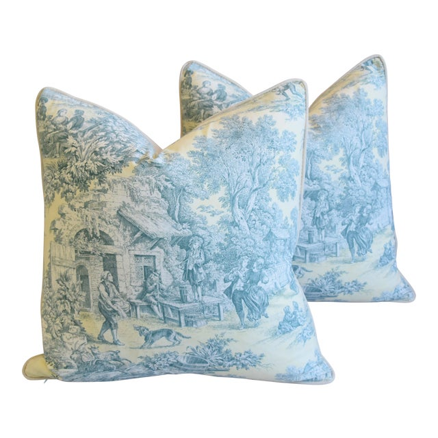 """French Farmhouse Country Toile Feather/Down Pillows 24"""" Square - Pair For Sale"""