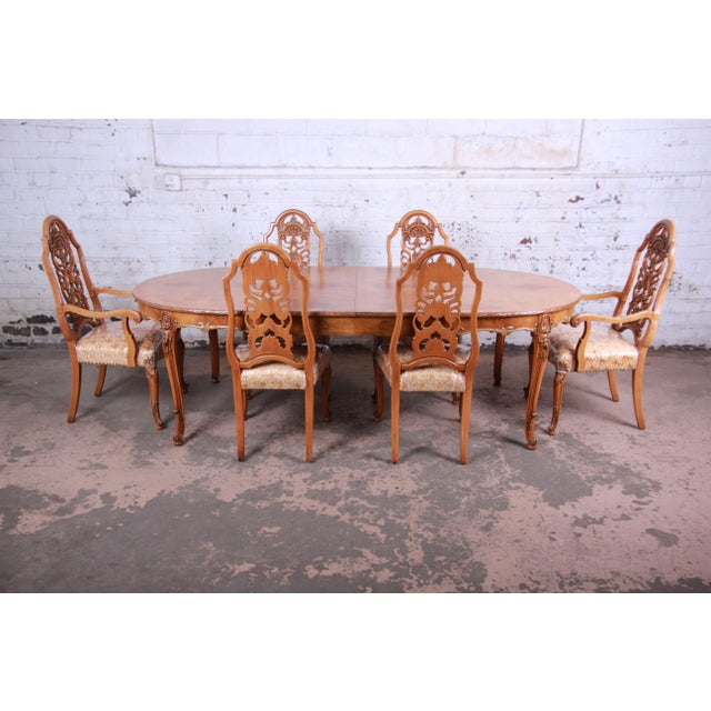 1960s Romweber Ornate Burl Wood French Carved Extension Dining Table & Six Chairs - Set of 6 For Sale - Image 13 of 13