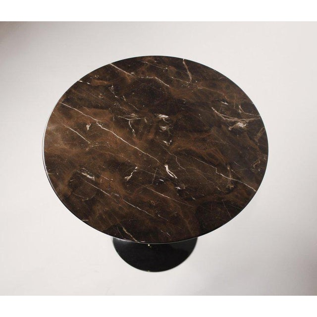 Knoll Eero Saarinen Side Table for Knoll With Polished Espresso Marble Top For Sale - Image 4 of 5