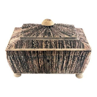 19th Century Large Anglo Indian Vizagapatam Antler Horn Sewing Box For Sale