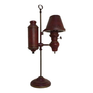 Red Tole Student Lamp For Sale