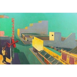 'Red Glider' by Keith Longcor, 2002; Large California Modernist Oil, Modesto Urban Landscape, Airplane For Sale