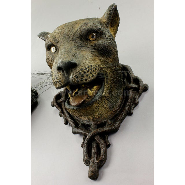 Black A Gorgeous Pair Of Leopard Heads, Austria Ca. 1890 For Sale - Image 8 of 12