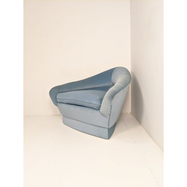 Cornflower Blue Mid Century Modern Adrian Pearsall for Craft Associates Triangular Lounge Chair For Sale - Image 8 of 10