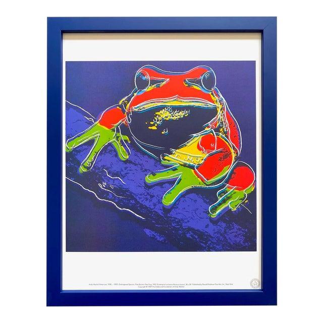 """Andy Warhol Estate Vintage 1989 Endangered Species Framed Lithograph Print """" Pine Barrens Tree Frog """" 1983 For Sale"""