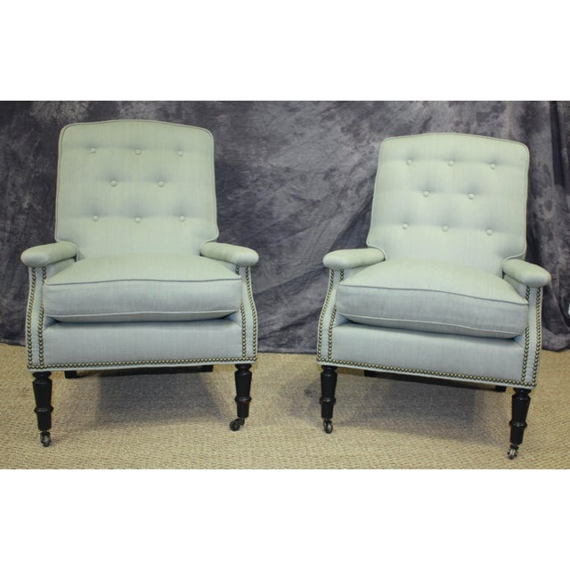 Scalamandre Furniture Club Chairs- A Pair For Sale - Image 11 of 11