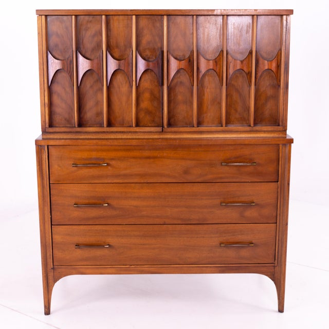Kent Coffey Perspecta Mid Century Walnut and Rosewood Armoire Gentleman's Chest Highboy Dresser 40.75 wide x 19.25 deep x...
