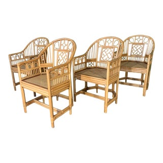 Brighton Style Pavilion Rattan Dining Chairs - Set of 4 For Sale