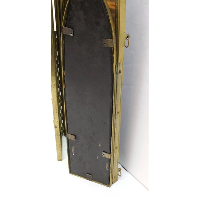 Gold French Art Deco Bronze With Etched Glass Tri-Fold Mirror For Sale - Image 8 of 9