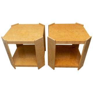 Modern End Tables in Goatskin/Parchment - a Pair For Sale