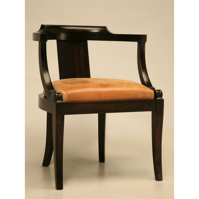 Antique French solid mahogany desk chair in a beautiful ebonized finish  that lets the warm brown - French Ebonized Mahogany Antique Desk Chair Chairish