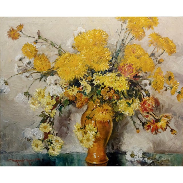 "Illustration Thorwald Albert Probst ""Flowers of Fall"" Still Life Oil Panting C.1910s For Sale - Image 3 of 11"