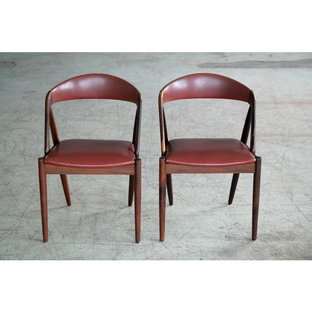 Animal Skin Kai Kristiansen Rosewood and Red Leather Model 31 Dining Chairs - Set of 5 For Sale - Image 7 of 13