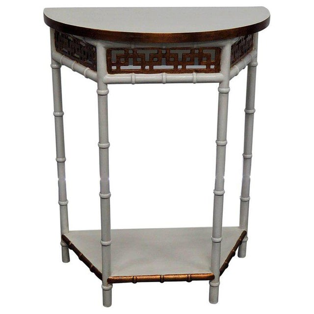 Asian Modern Design Demilune Console Table For Sale - Image 9 of 9