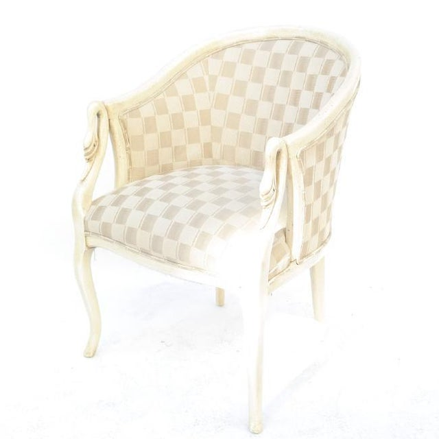 White Painted Swan-Form Bergere Chair For Sale - Image 8 of 8