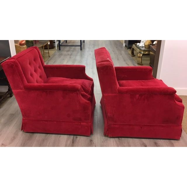 2010s Pair Red Velveteen Chairs For Sale - Image 5 of 6