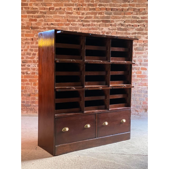 Brown Haberdashery Drapers Shop Display Cabinet Mahogany Loft Style, circa 1940 For Sale - Image 8 of 11