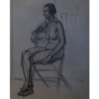 1930s Female Charcoal Nude Portrait, Two-Sided Drawing