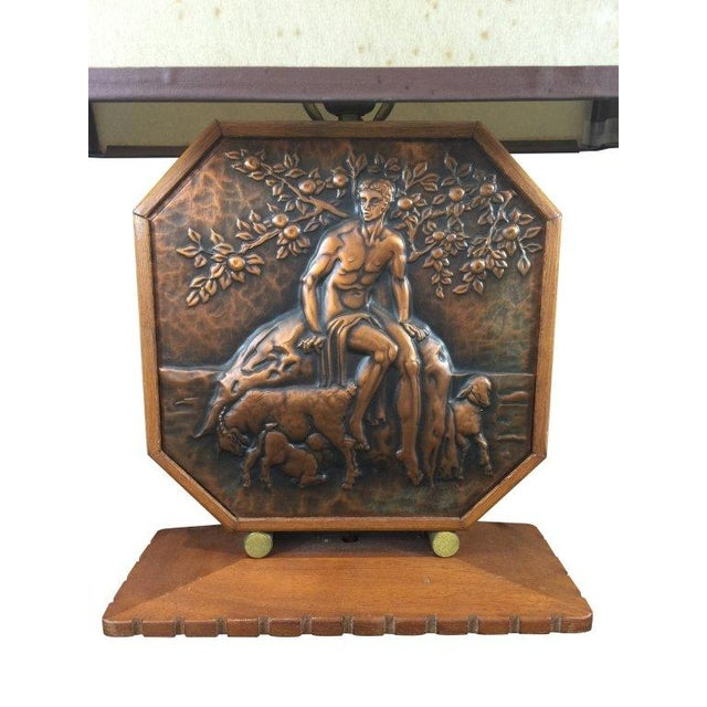 Art Deco Wood & Copper Male Shepherd Lamp - Image 4 of 4