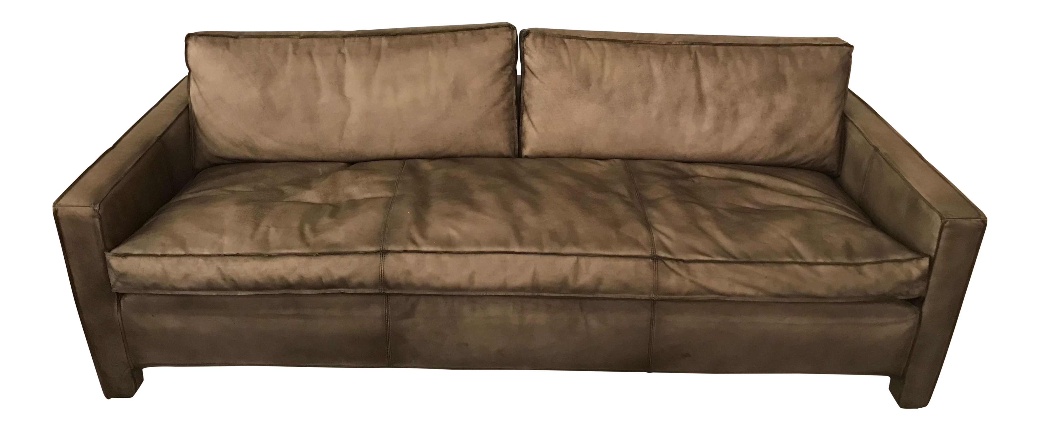 Rustic Leather Sofa | Chairish