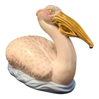 Vintage Hollywood Regency Porcelain Pelican With Gold Beak For Sale