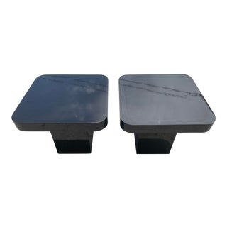 Post Modern Black Laquer Square End Tables - a Pair For Sale