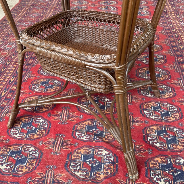 Vintage Victorian Wicker Rattan Basket Sewing Stand For Sale - Image 6 of 11