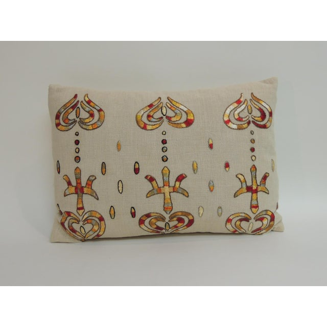1980s Vintage Turkish Embroidered Lumbar Decorative Pillow For Sale - Image 5 of 5