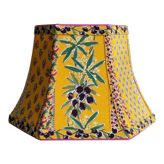 Bell Lamp Shade French Country Pierre Deux Style Fabric Bright Yellow French Blue Hot Pink For Sale
