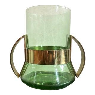 Green Glass & Brass Vase For Sale