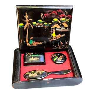 C. 1920s Painted Enamel Asian Mirrored Grooming Kit Box - 4 Pieces For Sale