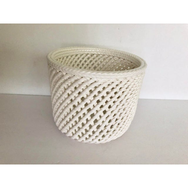 White Vintage White Ceramic Lattice Flower Pot For Sale - Image 8 of 11