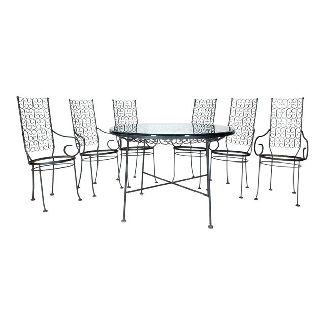 Outdoor Set of Six Armchairs With Glass Top Table, Salterini Attributed For Sale