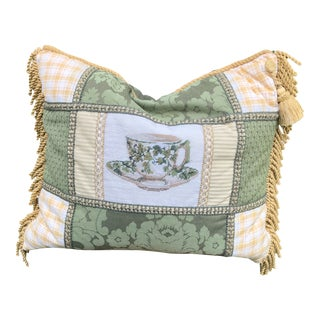 Needlepoint English Teacup Pillow For Sale