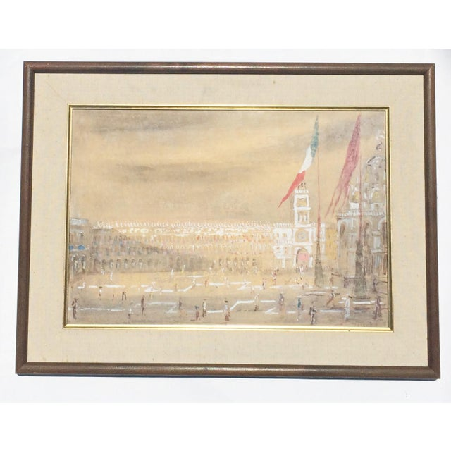 """Gouache painting of the Piazza San Marco, Venice, by Italian painter Giorgio Valenzin (1901-1978). Signed """"Valenzin"""" lower..."""