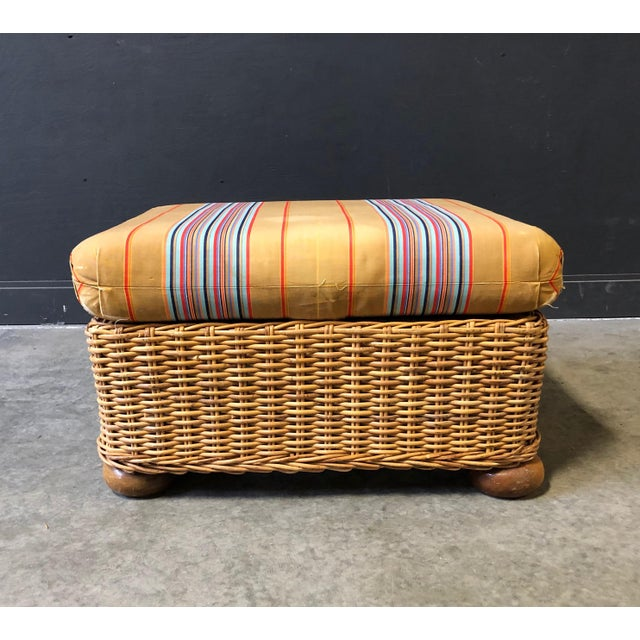 Fabric Wicker Ottoman/FootStool With Ball Feet and Original Striped Silk Cushion For Sale - Image 7 of 7