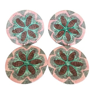 Vintage Majolica Seaweed Design Plates for Dessert or Salad- Set of 4 For Sale