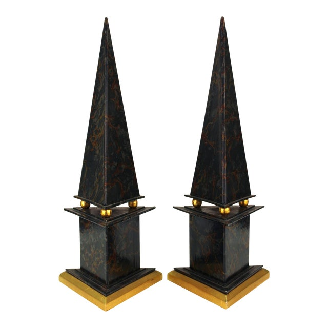 Neoclassical Style Obelisks in Marbled Paper and Gold Foil - a Pair For Sale