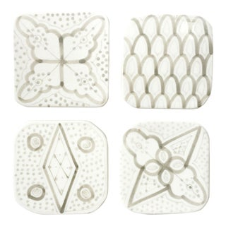 Moroccan Porcelain Coasters, Set of 4 Grey For Sale