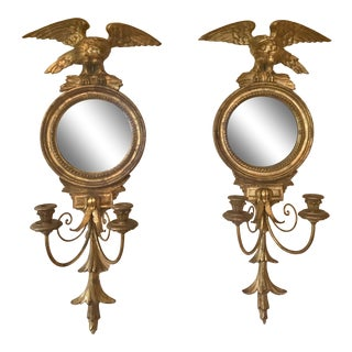 Vintage Italian Carved Giltwood Mirrored Eagle Sconces - a Pair For Sale