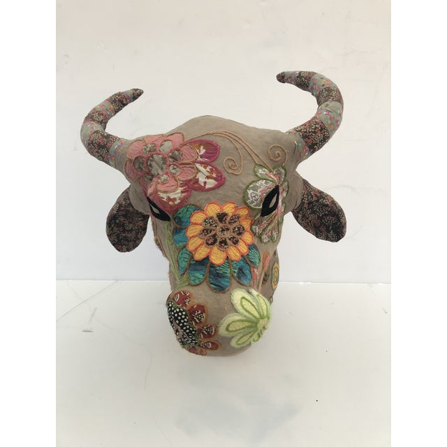 Handmade Mixed-Media Wall Sculpture of Bull's Head With Horns For Sale - Image 10 of 10