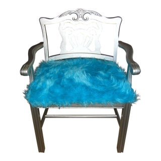 Vintage Turquoise Furry Mod Acrylic Silver Ornate Arm Chair Hollywood Glam Retro For Sale
