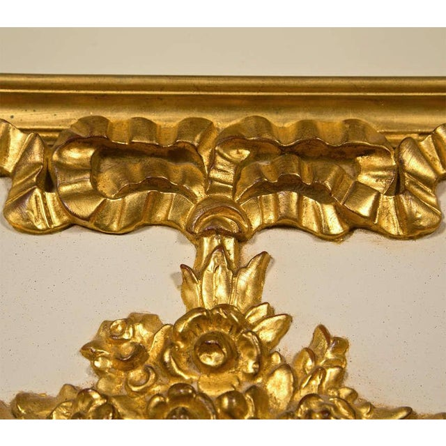 French Louis XVI Style Painted and Parcel Gilt Trumeau Mirror Exquisite Detail For Sale - Image 4 of 7
